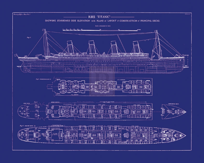 The Vintage Collection Titanic Blueprint I Giclee Print