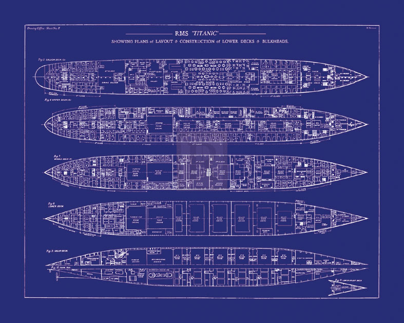 The Vintage Collection Titanic Blueprint Ii Giclee Print