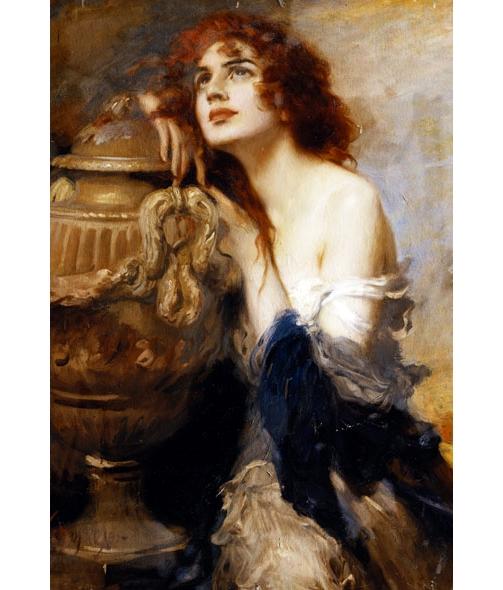 """LEOPOLD SCHMUTZLER """"A Titian Beauty"""" WOMAN dreaming red ..."""